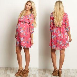 New Pink Blush Fuchsia Chiffon Maternity Dress